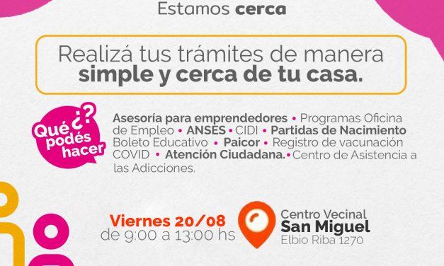 El Punto Vecino atenderá este viernes en el Centro Vecinal San Miguel