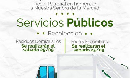 Este 24 de septiembre no habrá Recolección de Residuos con motivo del feriado por la fiesta patronal