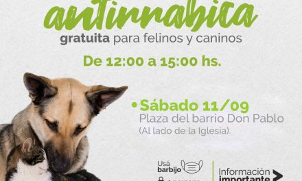 Este sábado vacunación antirrábica en la plaza del barrio Don Pablo